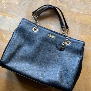 Kate Spade black cow leather gold chain handbag